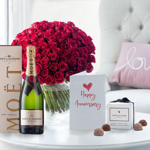 100 Red Roses, Moët & Chandon, 6 Mixed Truffles & Anniversary Gift Card