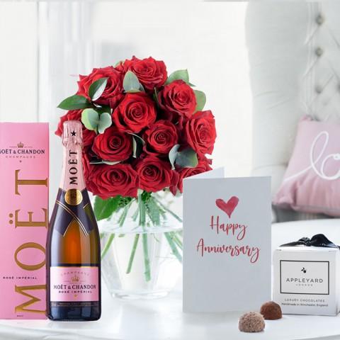 12 Opulent Red Roses, Moët Rosé, 6 Mixed Truffles & Anniversary Card