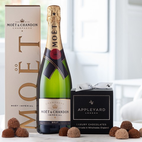 Moet & Chandon Brut 75cl Champagne and 12 handmade Chocolate Truffles