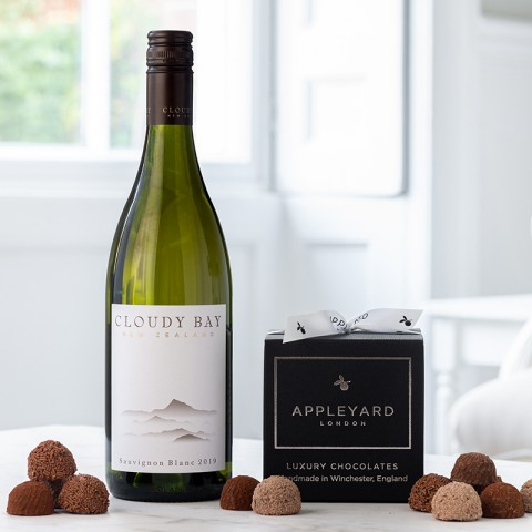 Cloudy Bay Sauvignon Blanc 2020 and 12  handmade Chocolate Truffles