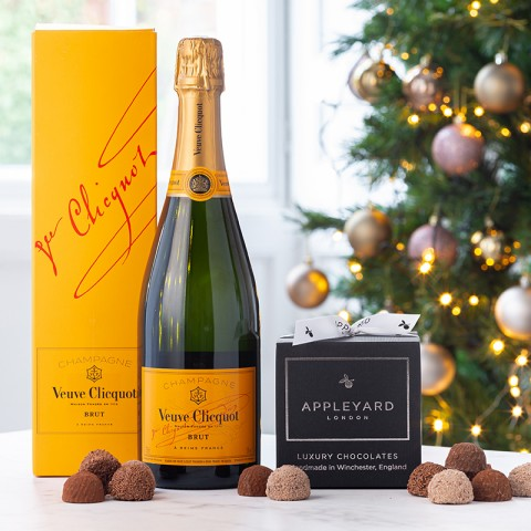 Veuve Cliquot Yellow Label Brut Champagne  and 12 handmade Chocolate Truffles