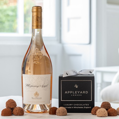 Whispering Angel Rose Wine and 12 handmade Chocolate Truffles