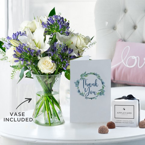 Bluebelle, Vase, 6 Mixed Truffles & Thank You Gift Card