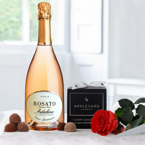 Luxury Preserved Rose, Adalina Rosato Spumante and 12  handmade Chocolate Truffles