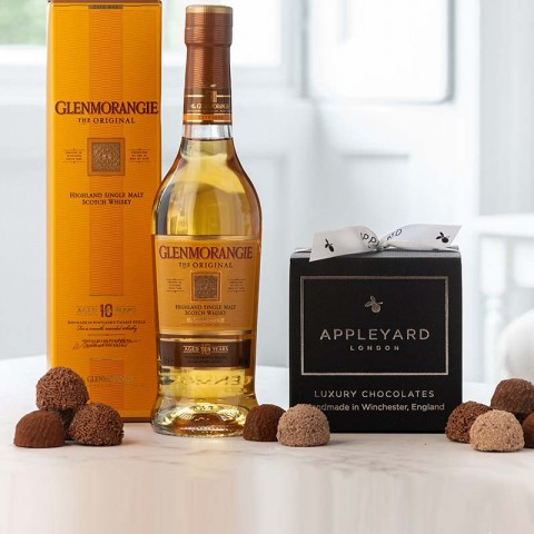 Glenmorangie 10 Year Old Half Bottle and 12  handmade Chocolate Truffles
