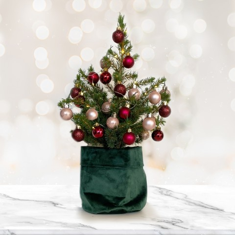 Medium Christmas tree with 28 Rose Gold and Dark Red baubles (RECOMMENDED)
