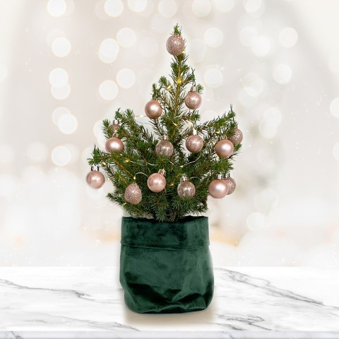 Medium Christmas tree  with 14 Rose Gold Baubles