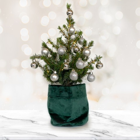 Medium Christmas tree with 14 Silver Baubles