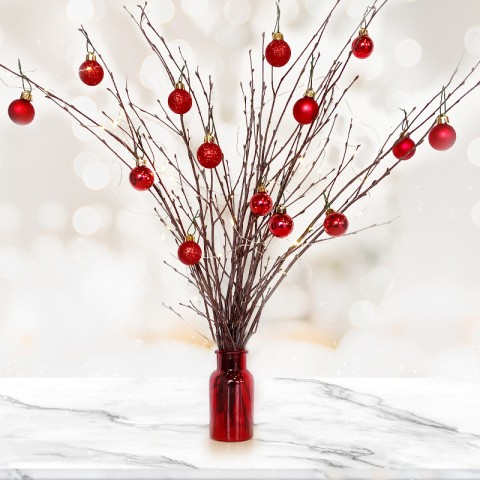 Natural Twig Tree with 14 Red Christmas Baubles