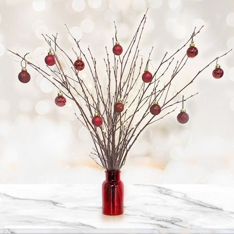 Natural Twig Tree with 14 Dark Red Baubles