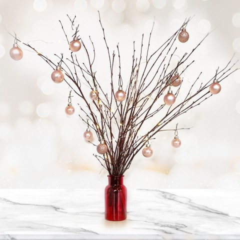Natural Twig Tree with 14 Rose Gold Baubles