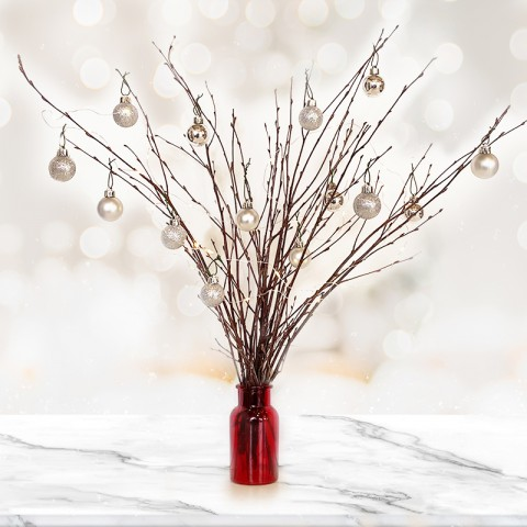 Natural Twig Tree with 14 Silver Baubles