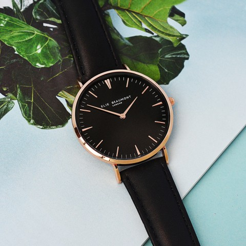 Modern - Vintage Personalised Leather Watch in Black With Black Dial