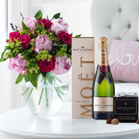 Pomegranate Rose & Peony, Moet Imperial NV Gift Box & 12 Mixed Truffles