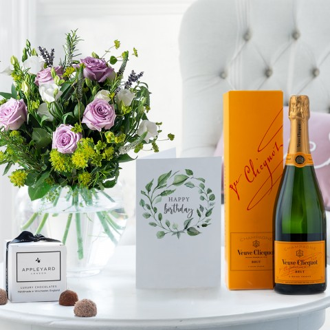 Scented Lavender, Veuve Clicquot, 6 Mixed Truffles & Birthday Gift Card