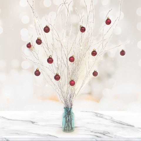 Silver Twig Tree with 14 Dark Red Baubles