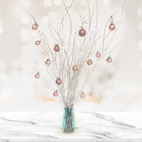 Silver Twig Tree with 14 Rose Gold Baubles