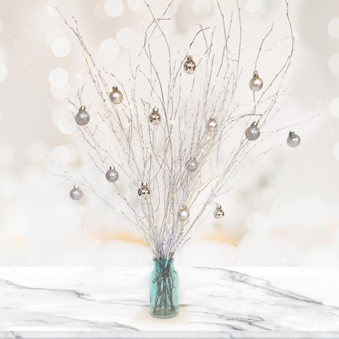 Silver Twig Tree with 14 Silver Baubles
