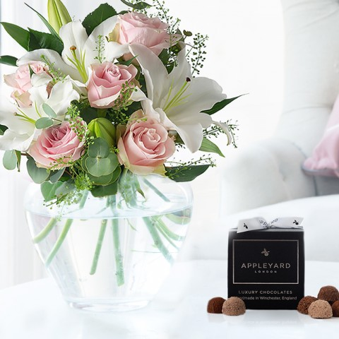 Simply Pink Rose & Lily & 12 Mixed Truffles