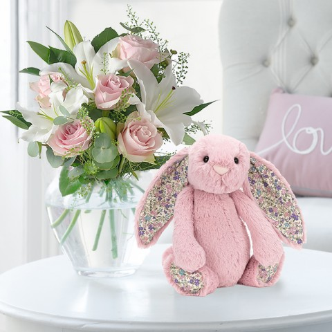 Simply Pink Rose & Lily & Jellycat Blossom Bunny
