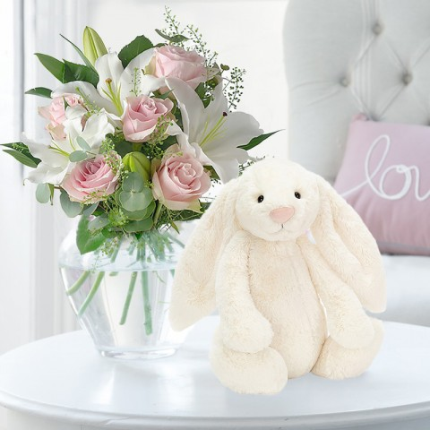 Simply Pink Rose & Lily & Cream Bunny