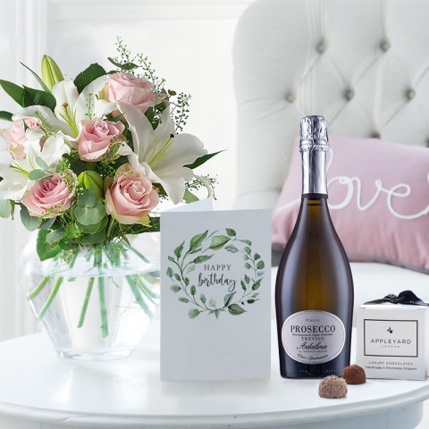 Simply Pink Rose & Lily, Prosecco, 6 Mixed Truffles & Birthday Gift Card