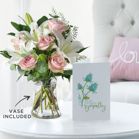 Simply Pink Rose & Lily, Vase & Sympathy Gift Card