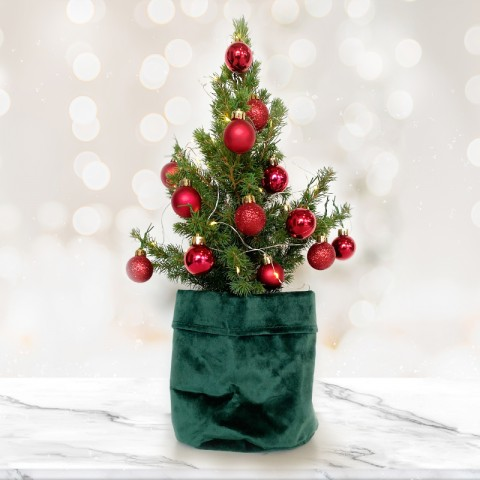 Mini Christmas tree with 14 Red Baubles