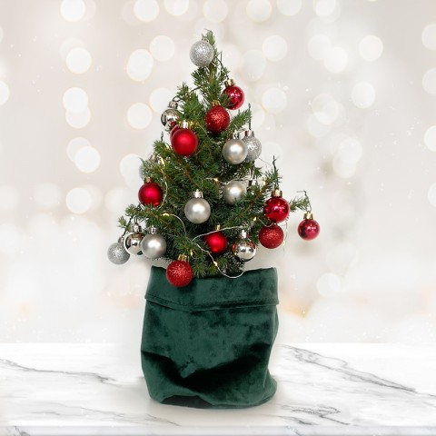 Mini Christmas tree with 28 Silver and Red baubles