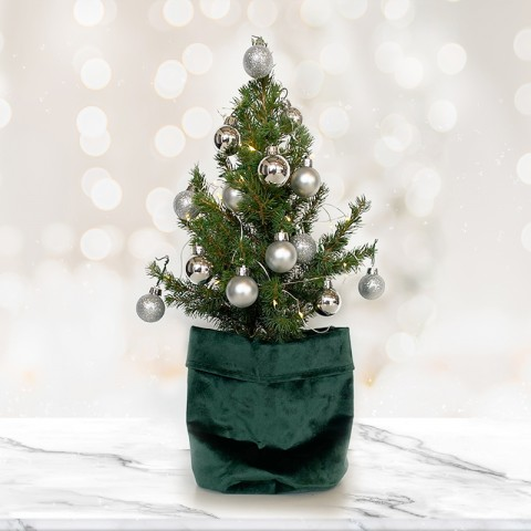 Mini Christmas tree with 14 Silver Baubles