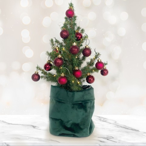 Mini Christmas tree with 14 Dark Red Baubles