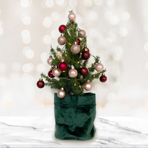 Mini Christmas tree with 28 Rose Gold and Dark Red baubles