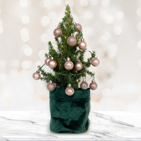 Mini Christmas tree with 14 Rose Gold Baubles
