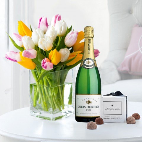 Springtime Tulips, Louis Dornier Champagne & 6 Mixed Truffles