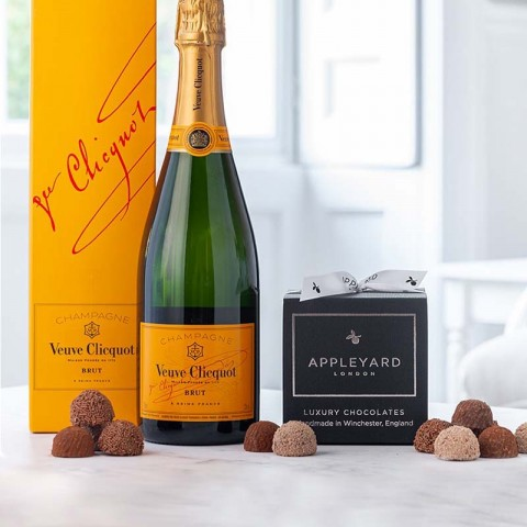 Veuve Clicquot Yellow Label Brut Champagne  and 12 handmade Chocolate Truffles