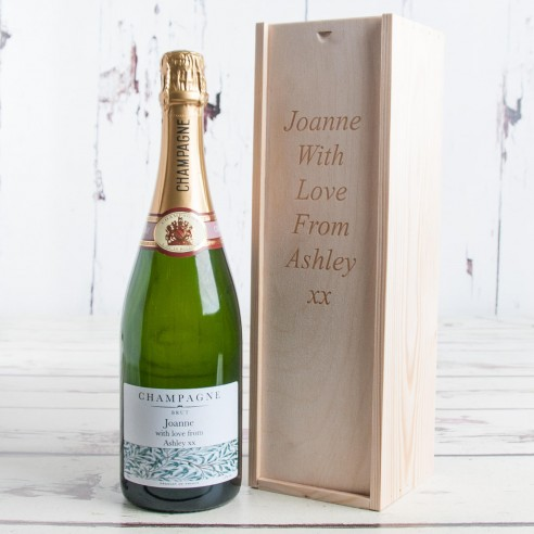 Personalised Champagne & Engraved Wooden Box