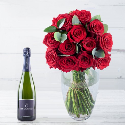 A Dozen Grandeur Red Roses & Pol Couronne Champagne