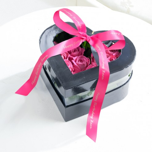 Pink Rose Heart Box With Personalised Ribbon