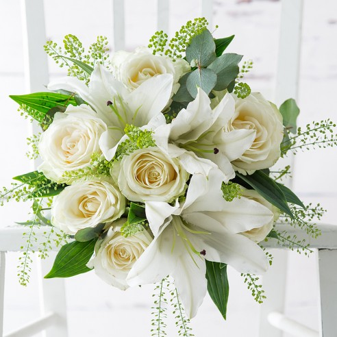 Flowers By Post - Simply White Rose & Lily
