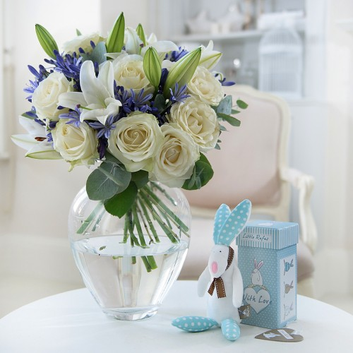 New baby flowers flowers for a new baby appleyard flowers baby boy rufus rabbit gift set negle Gallery