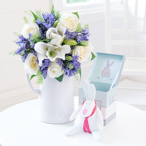 New baby flowers flowers for a new baby appleyard flowers baby boy rufus rabbit musical gift set negle Gallery