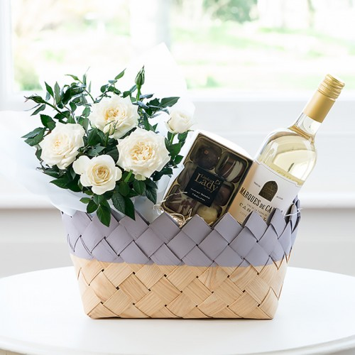 New baby girl flowers gifts appleyard flowers white wine flower hamper mightylinksfo