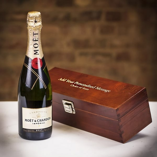 Moet & Chandon Champagne in Personalised Wooden Gift Box. Hover to zoom