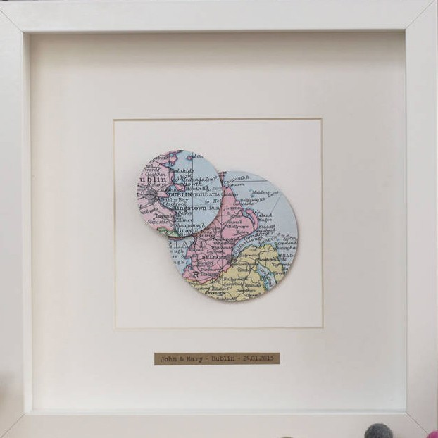 Double circle map framed picture sciox Gallery