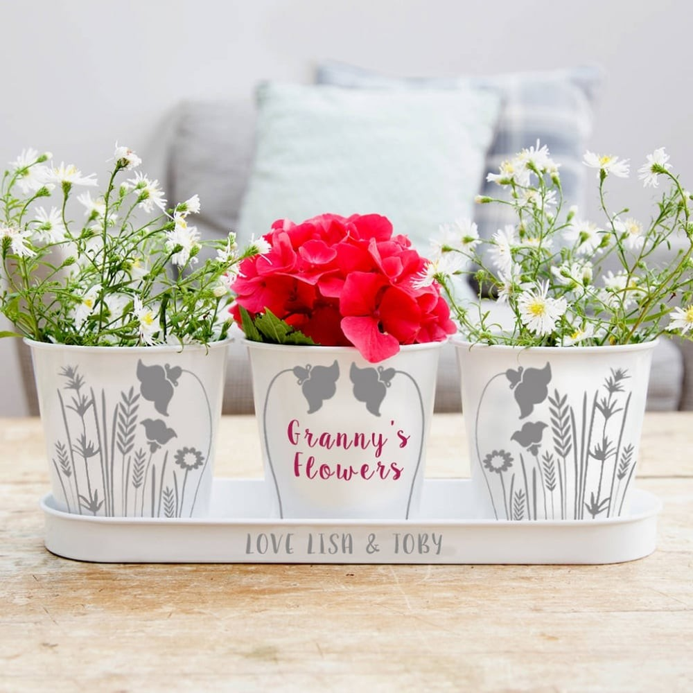 Personalised Flower Tray And Pots Hover To Zoom