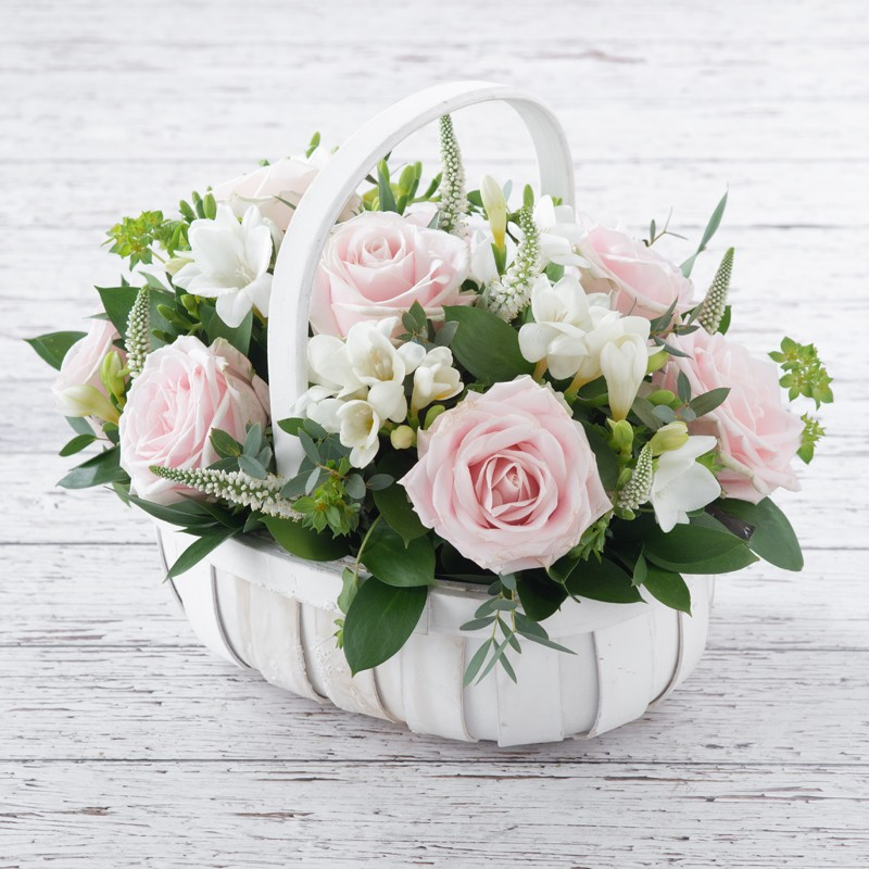 e304ad90a1 Pink Rose & Freesia Basket. Hover to zoom