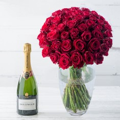 50 Luxury Red Roses & Bollinger Special Cuvee NV