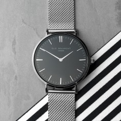 Personalised Metallic Mesh Strapped Watch With Black Dial