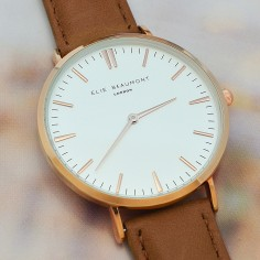 Modern - Vintage Personalised Leather Watch in Camel