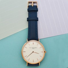 Modern - Vintage Personalised Leather Watch in Navy